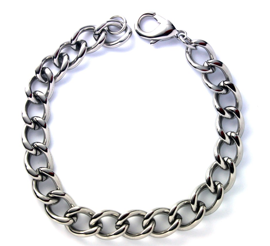 Men's stainless steel curb bracelet