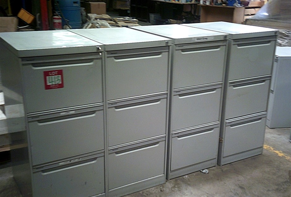 4 units of Grey 3 Drawer Namco Filing Cabinets