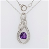 Sterling Silver Amethyst infinity pendant on chain
