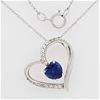 Sterling Silver Sapphire and Zirconia heart pendant on chain