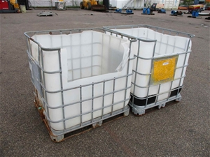 Qty 2 x 1000L IBC Containers Top and Sid