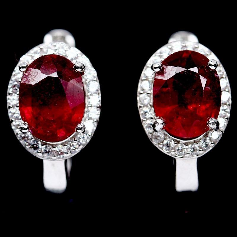 Stunning Genuine Ruby Huggie Earrings.