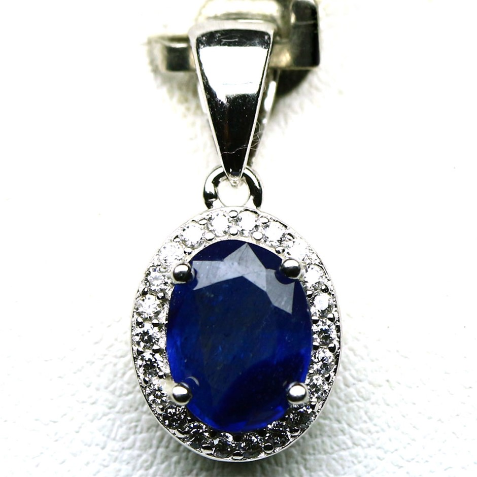 Striking Genuine Sapphire Pendant.