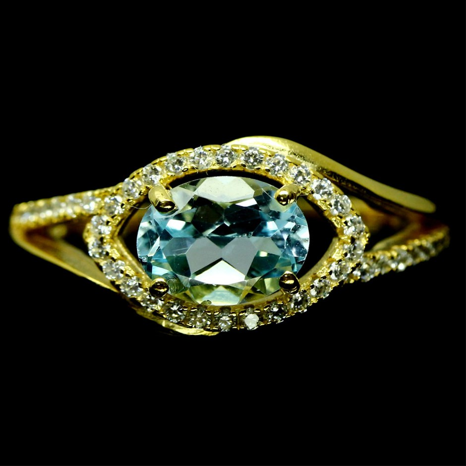 Gorgeous Genuine Sky Blue Topaz Ring.