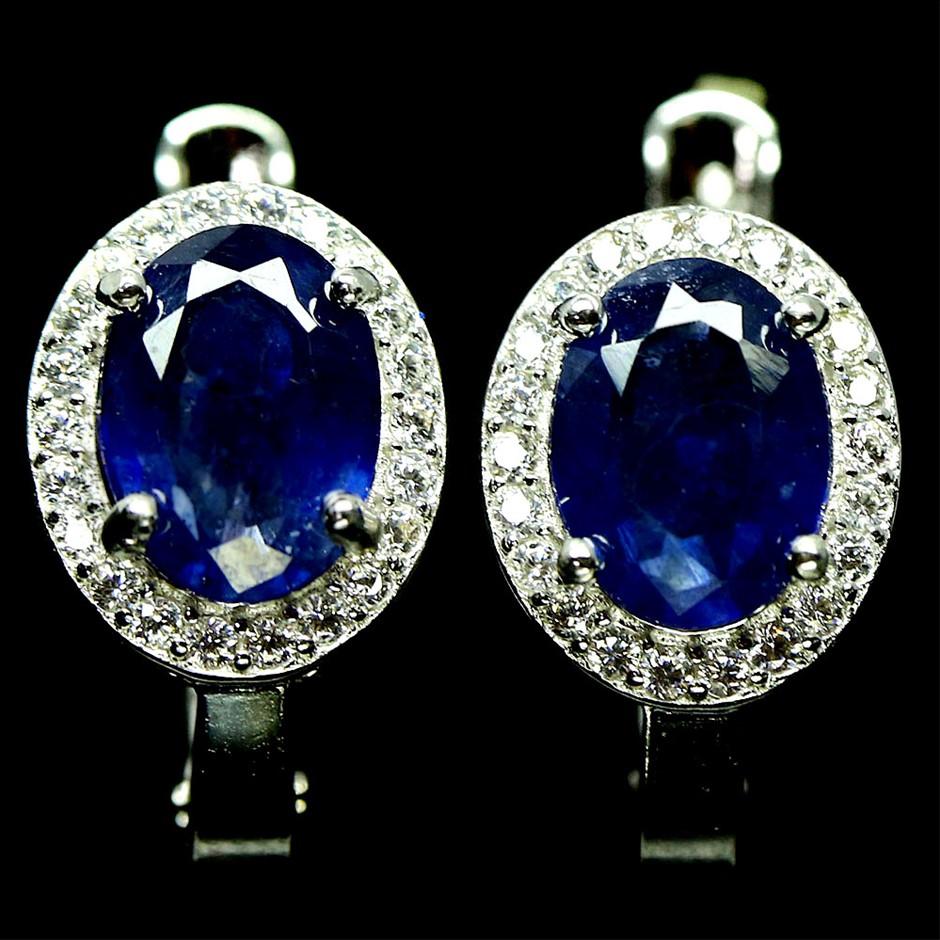 Striking Genuine Sapphire Huggie Earrings