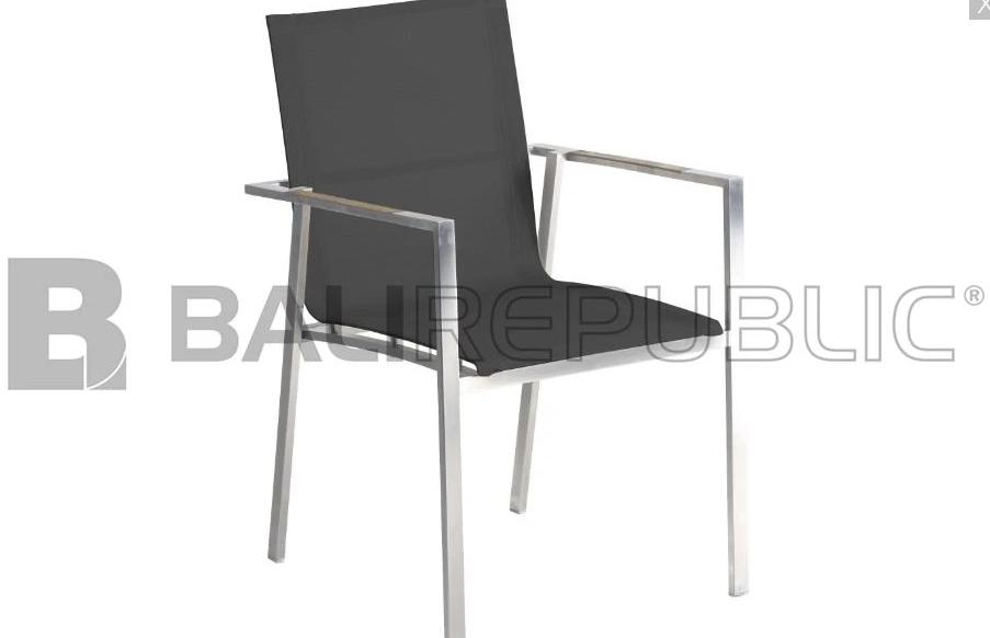 4 x NUSA DUA Outdoor Stackable Armchair in Black Sling by Bali Republic