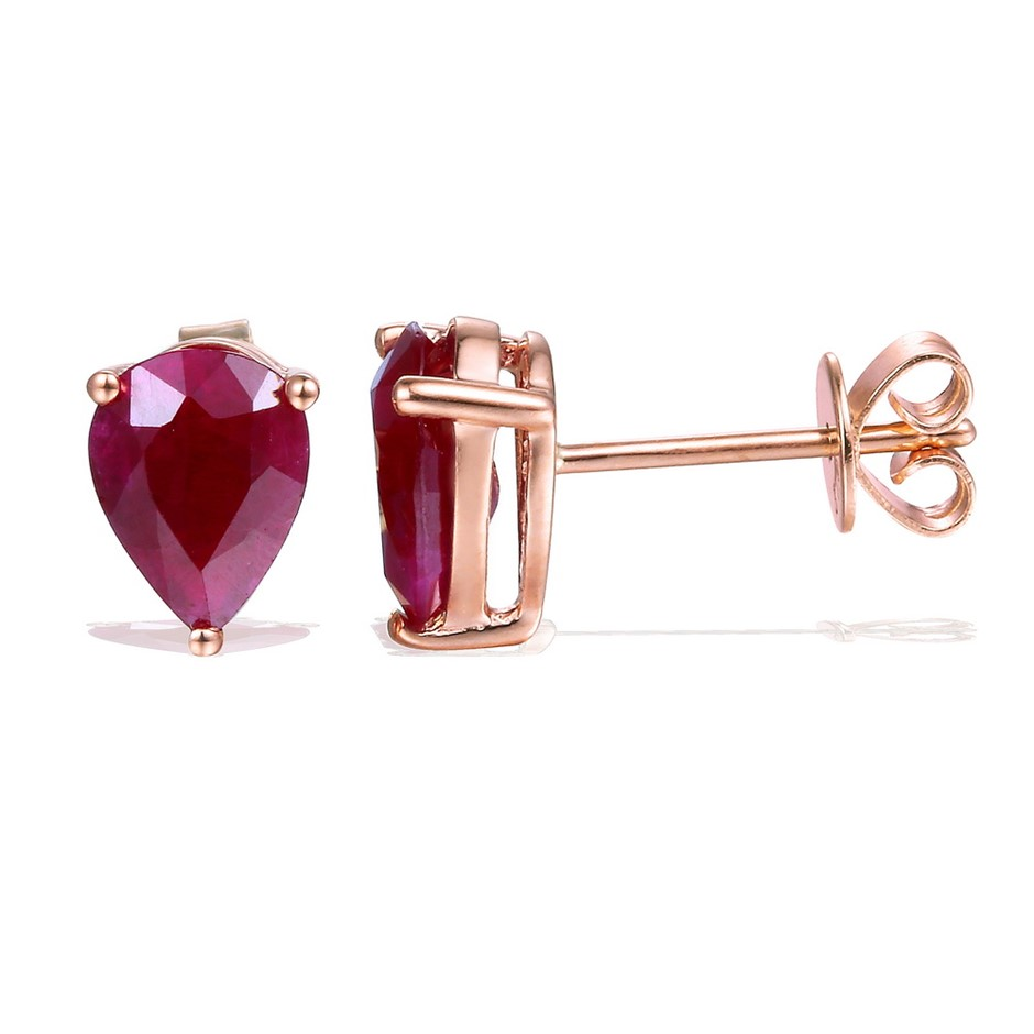 9ct Rose Gold, 2.65ct Ruby Earring