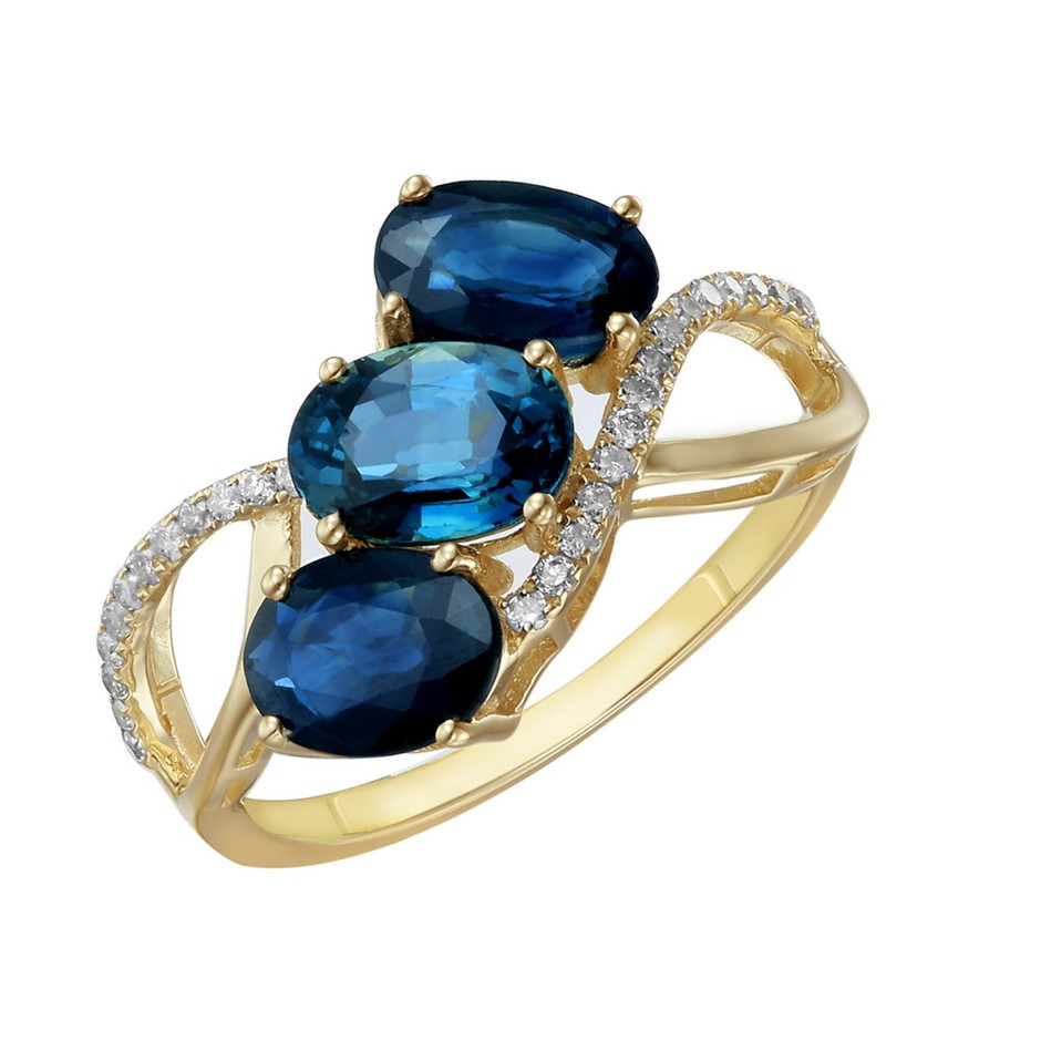 9ct Yellow Gold, 2.98ct Blue Sapphire and Diamond Ring