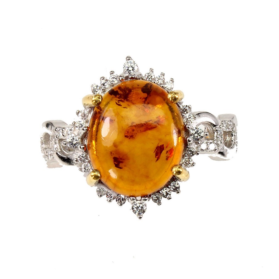 Unique Genuine Polish Amber Ring.