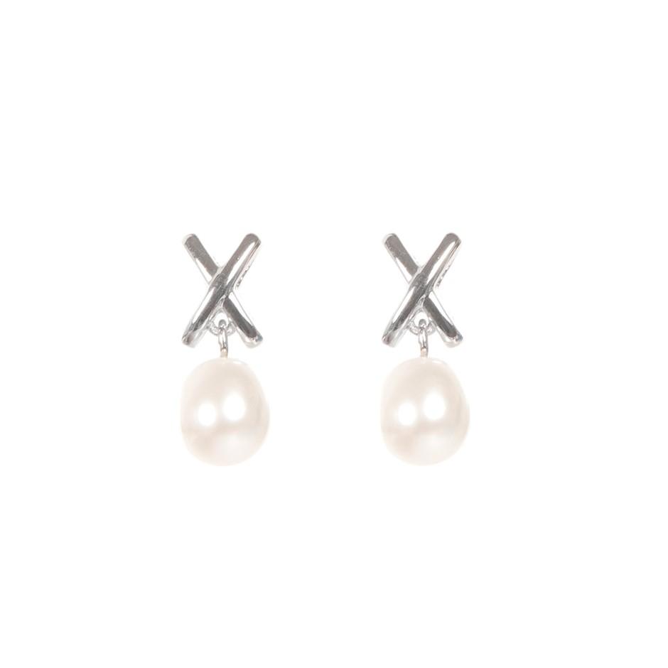 White freshwater pearl earrings in sterling silver