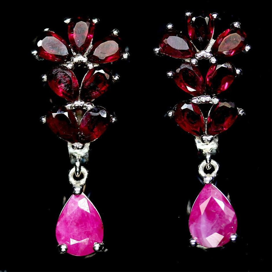 Delightful Genuine Ruby & Rhodolite Garnet Drop Earrings.