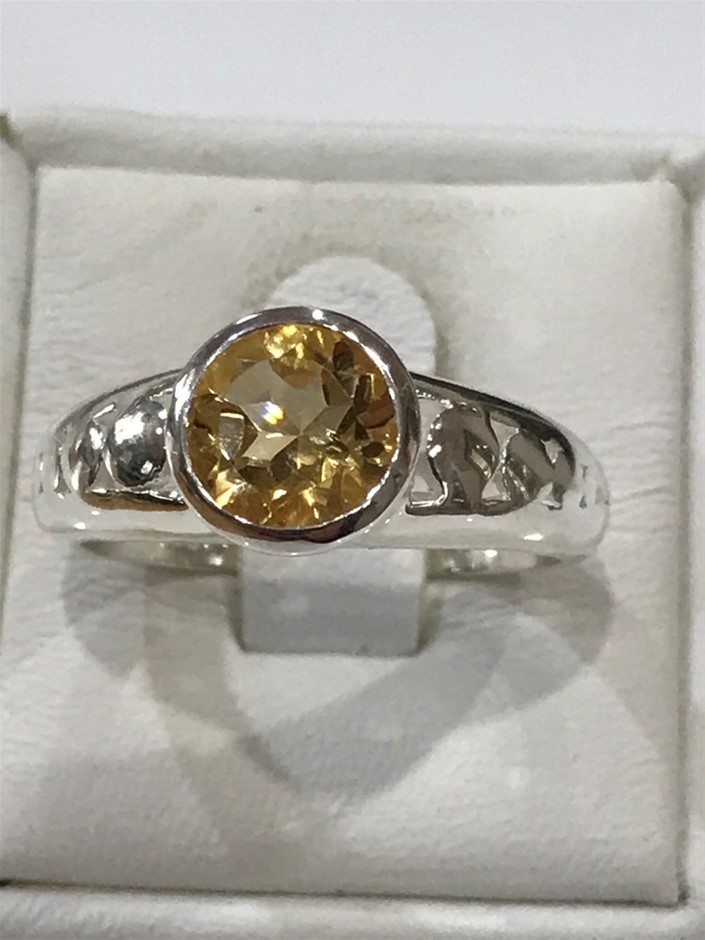 Truly Magnificent 1.25ct Citrine Ring Size N 1/2 (7)