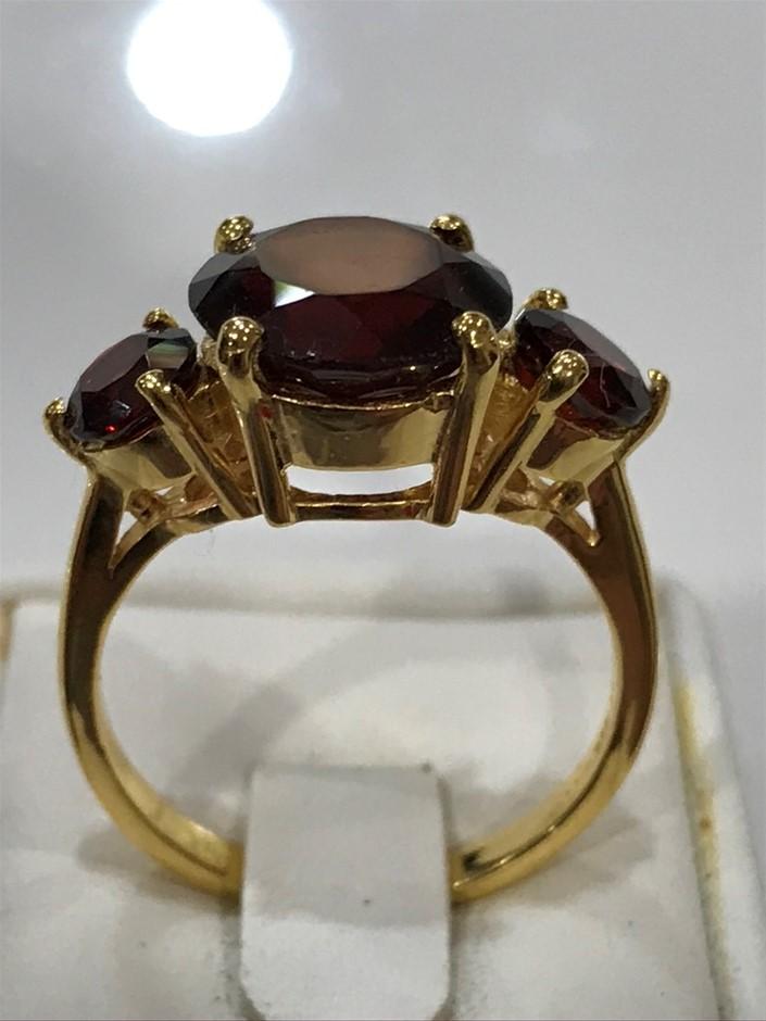 Stunning 6.95ct Garnet & 18K Gold Vermeil Size N 1/2 (7)