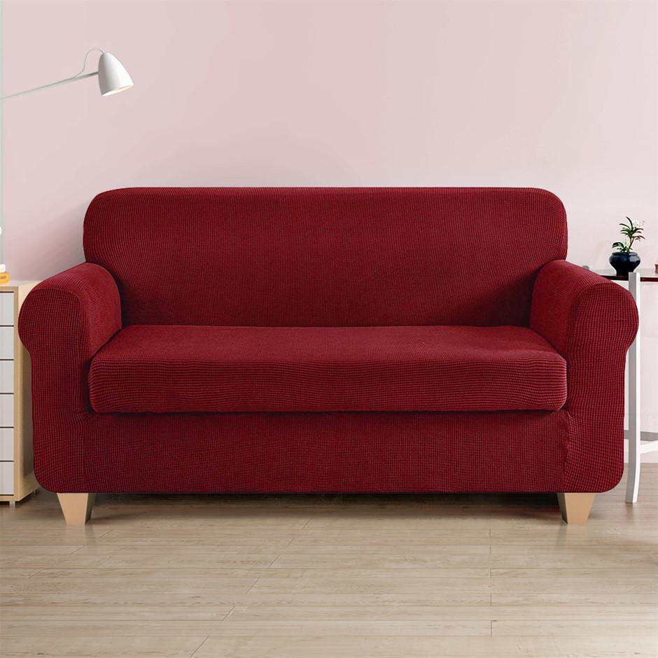 Artiss 2-piece Sofa Cover Elastic Stretch Protector 3 Seater Burgundy