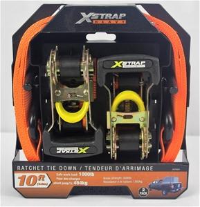 NEW - X-Strap Ratchet Tie Downs set