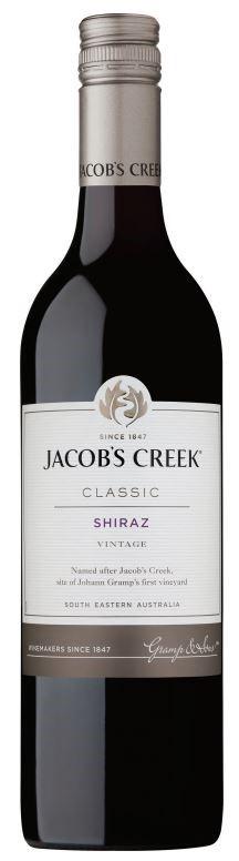 Jacobs Creek Classic Shiraz 2018 (12 x 750mL), SE AUS.