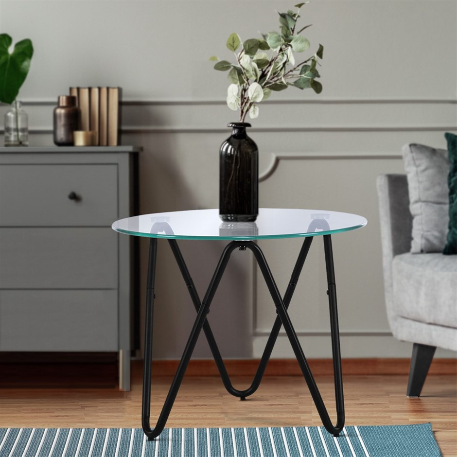 Artiss Coffee Table Glass High Gloss Display Modern Furniture 50X50CM