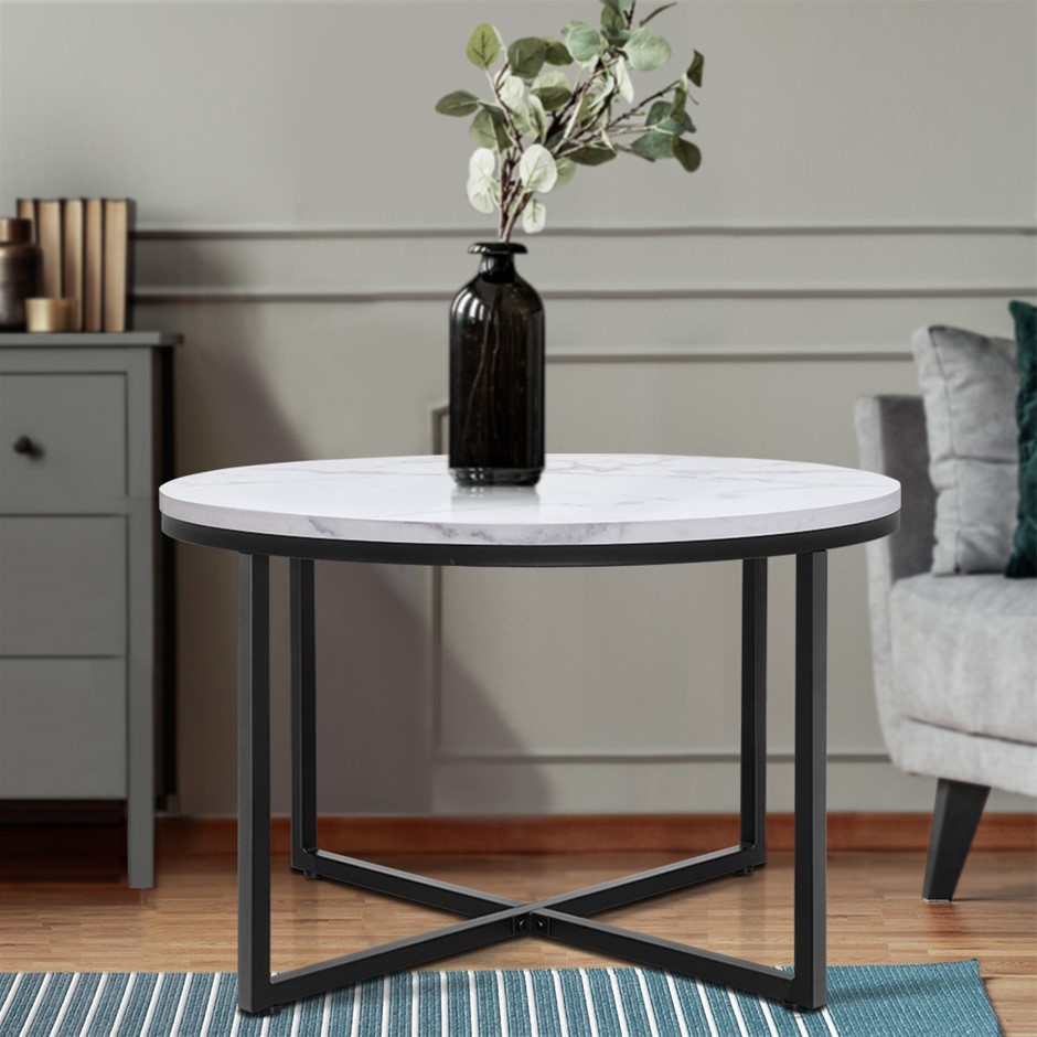 Artiss Coffee Table Marble Effect Tables Bedside Round Black Metal 70X70CM