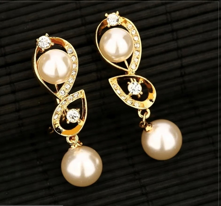 18k Gold Plated With Simualtion Pearl and Austrian Rhinestone