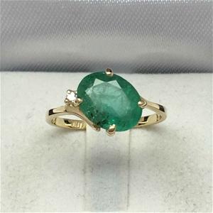 18ct Yellow Gold, 2.34ct Emerald Diamond
