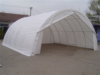 2x Storage Shelters - 7.6m(l) x 7.9m(w) x 3.66m(h)