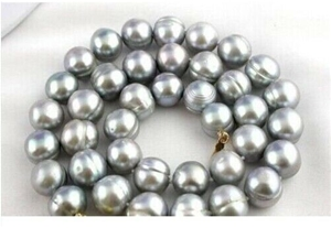 12-13mm tahitian baroque gray pearl neck
