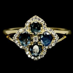 Magnificent Yellow Gold Blue Sapphire Ri