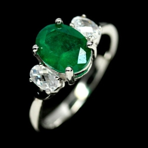 Superb Forest Green Doublet Emerald Ring