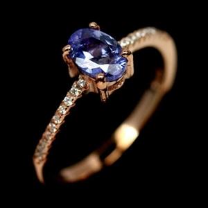 Rose Gold Blue Tanzanite Ring. Size 'P'