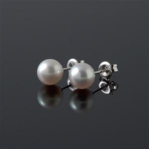 6-6.5mm White Akoya Full Round Pearl Ear
