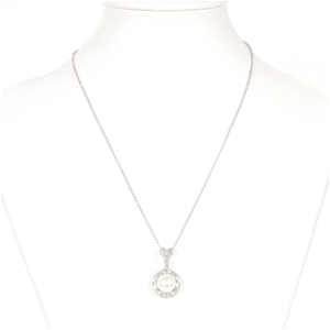 Natural Freshwater Pearl & CZ Set Silver