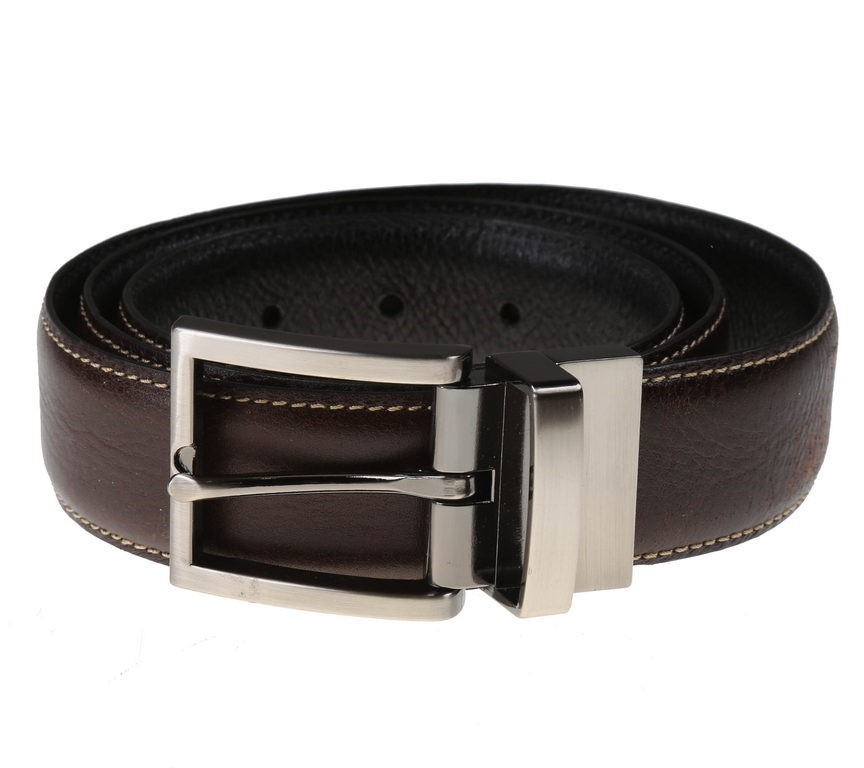 SIGNATURE Men`s Italian Leather Reversible Belt, Size 40, Black/Brown. Buye