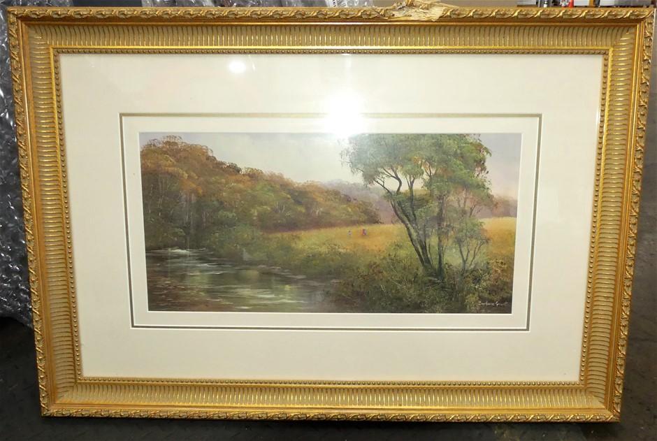 Framed acrylic on board depicting water scene by Barbara Grant
