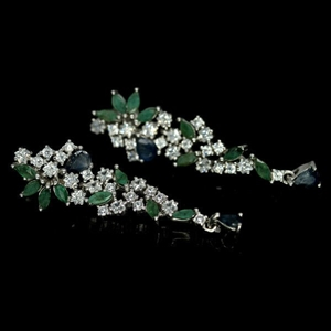 Beautiful Genuine Emerald & Sapphire Dro
