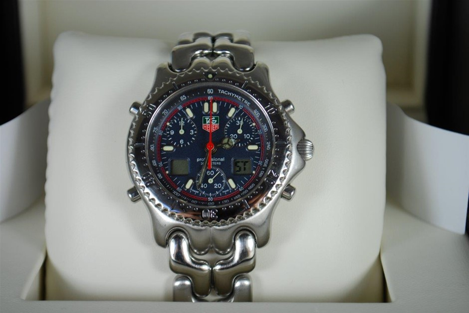 "Gents Tag Heuer LCD S/El Link ""1/100Th"" Chronograph Stainless Steel Watch"