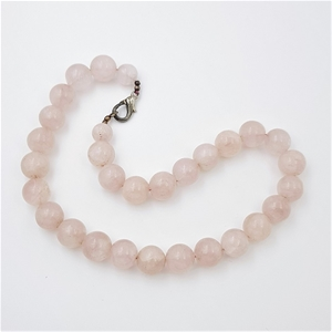 Silver Tone & Pink Quartz Bead Necklace.