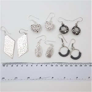 Collection Of 5 Pairs Silver Tone Earrin
