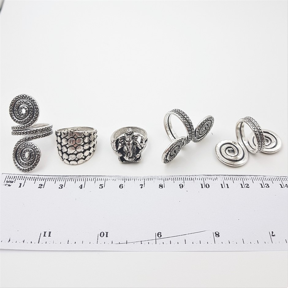 Collection Of 5 Silver Tone Rings.