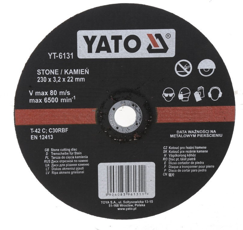 5 x YATO Stone Cutting Discs 230 x 3.2 x 22mm. Buyers Note - Discount Freig