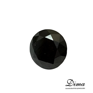 One Stone Black Diamond Round 0.65ct in