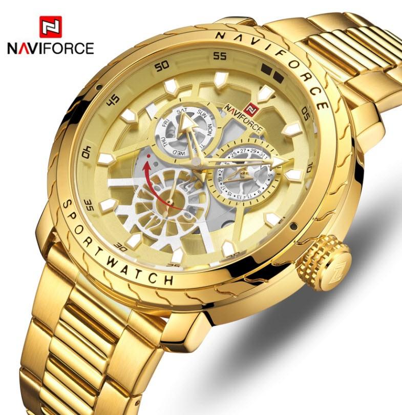 NAVIFORCE Men's Elegant & Business Seiko Movement SS Water-resistant Watch