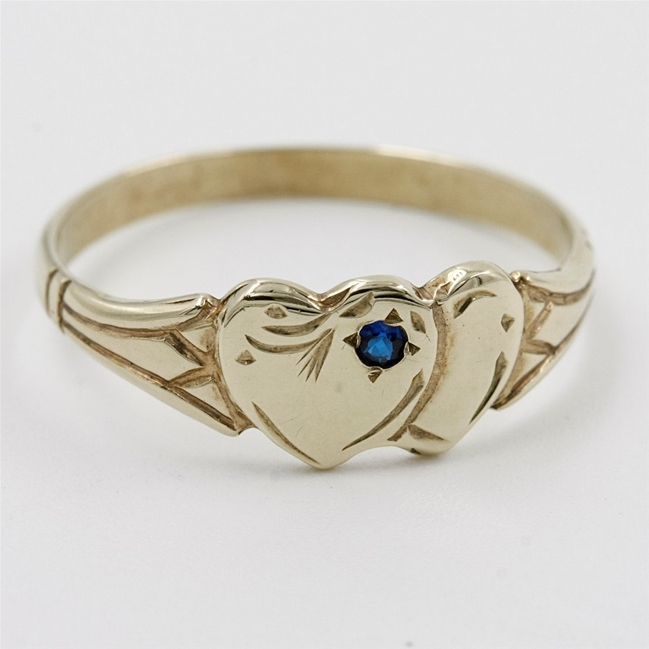 9ct Y/G Double Heart Signet Ring with Created Blue Sapphire