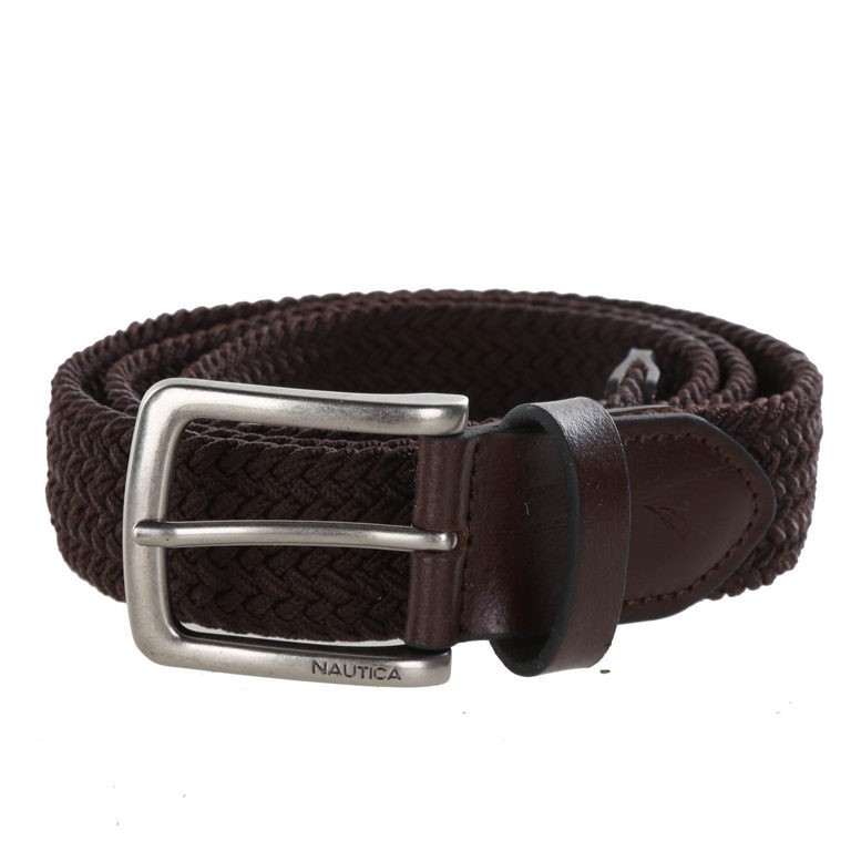 NAUTICA Men`s Handcrafted Woven Stretch Belt, Size 34- 36, Brown, Elastic R