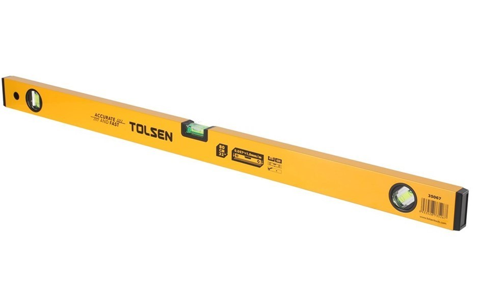 TOLSEN Spirit Level with Aluminium Frame & 3 Bubbles, 80cm. Buyers Note - D