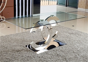 Dining Table in Crescent Glossy Stainles