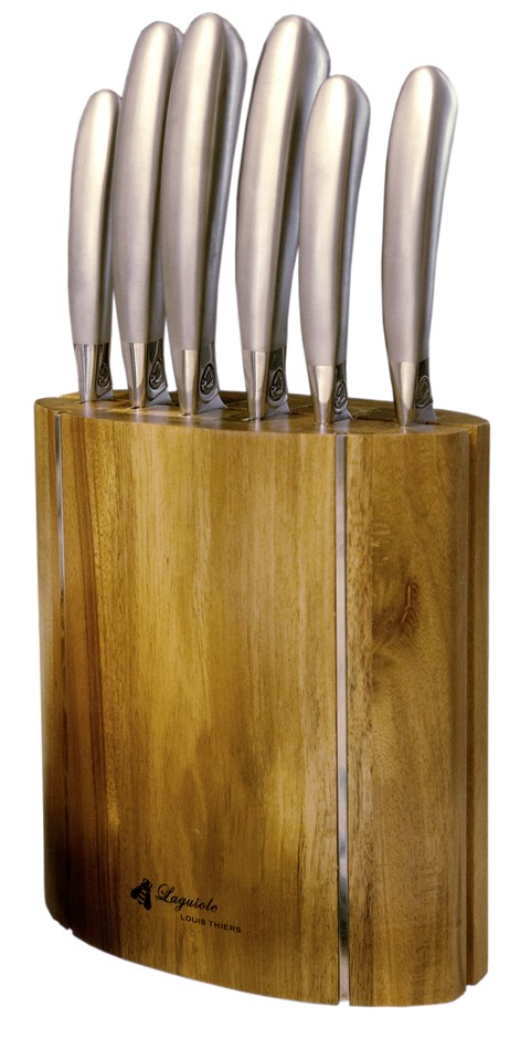 Laguiole by Louis Thiers Mondial 7 - Piece Kitchen Knife set with Block