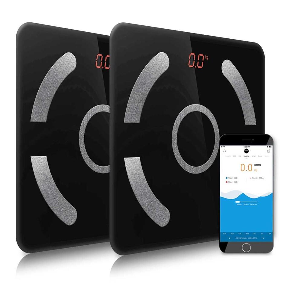 SOGA 2x Wireless Bluetooth Digital Bathroom Health Analyser Black