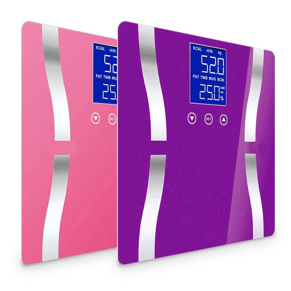 SOGA 2 x Digital Body Fat Bathroom Scales Weight Gym LCD Purple/Pink