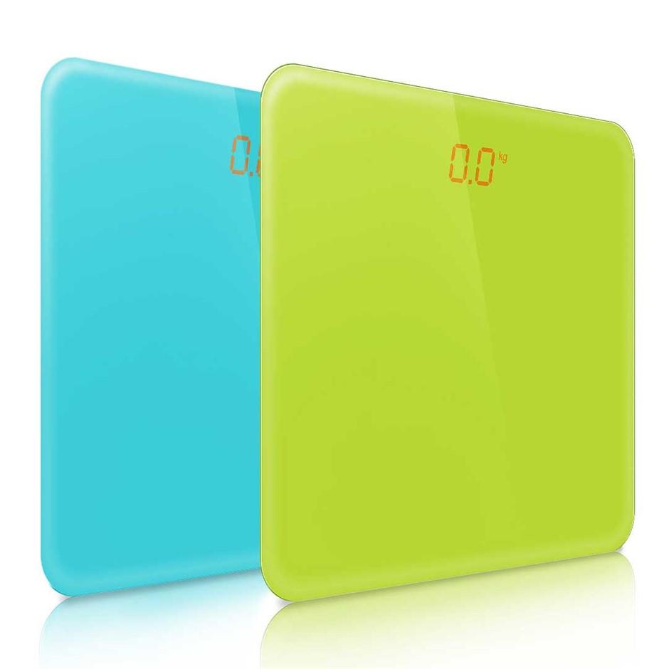 SOGA 2 x 180kg Digital Fitness Bathroom Gym Body Glass LCD Green/Blue