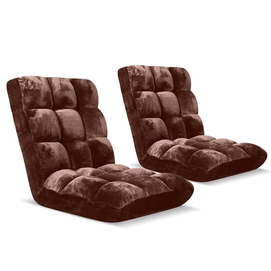 SOGA Floor Recliner Folding Lounge Sofa Folding Chair Cushion Coffee x2